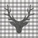papieren-servetten-p/20-Ambiente-cocktail-33x33cm-lunch-diner-STAG HEAD-grey-grijs-hert-eland-gewei-geblokt