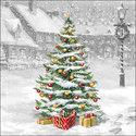 Ambiente-papieren-servetten-lunch-diner-TREE ON SQUARE-33x33cm-p/20-Kerstboom-plein-sneeuw-33312310-